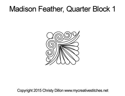Madison feather quarter block 1 quilt pattern