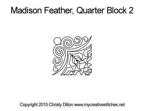 Madison feather quarter block 2 quilt pattern