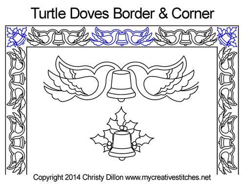 Turtle doves border & corner quilt design