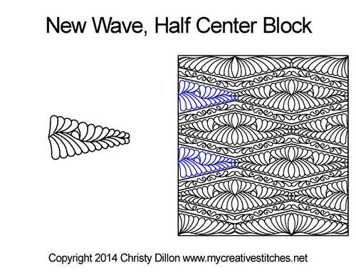 New wave center half block p2p quilting pattern