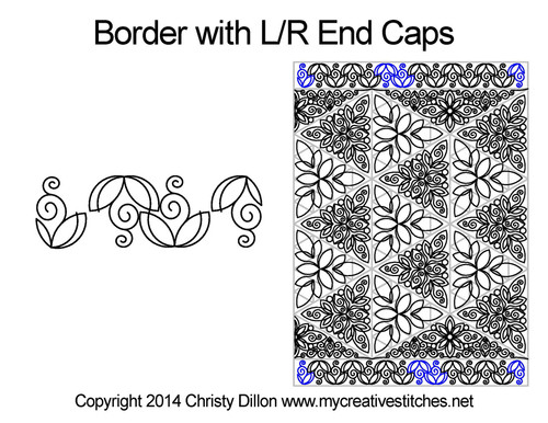 Border with L/R end caps quilt pattern