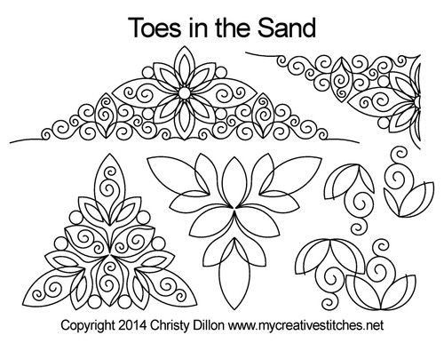Toes in the sand triangle quilt pattern set