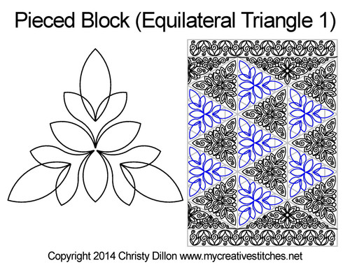 Pieced quilting pattern for triangle 1 block