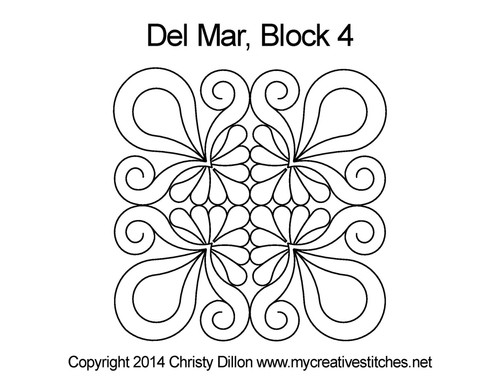 Del mar quilting designs for block 4