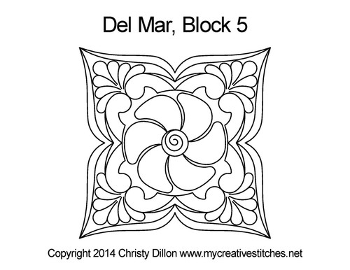 Del Mar square block 5 quilt pattern