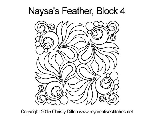 Nayasa's feather block 4 quilting pattern