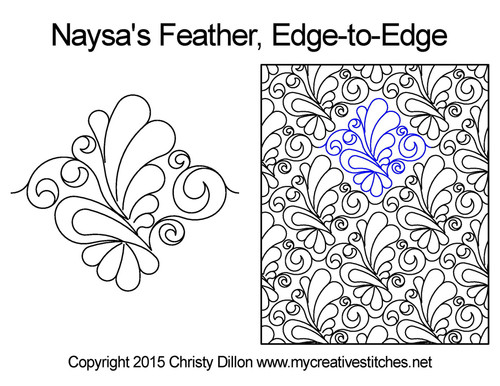 Naysa's feather edge-to-edge quilting pattern