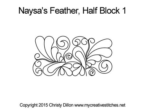 Naysa's feather half quilting designs for block 1