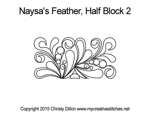 Naysa's feather half block 2 quilt design
