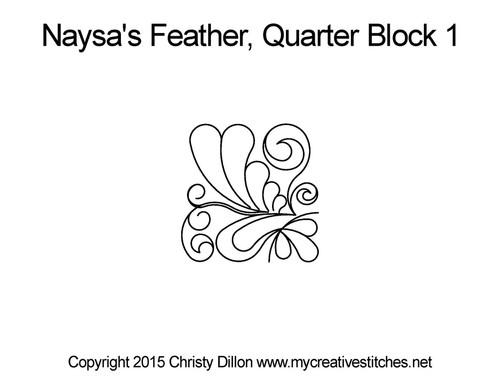 Nayasa's feather quarter block 1 quilt pattern