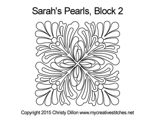 Sarah's pearls quilting design for block 2