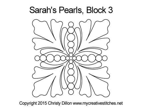 Sarah's pearls quilting design for block 3