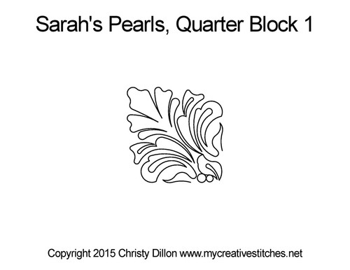 Sarah's pearls quarter block 1 quilt design