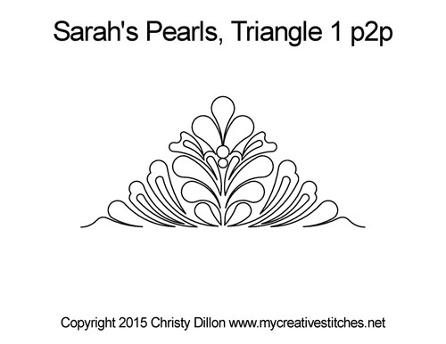 Sarah's pearls 1 p2p quilting design for triangle