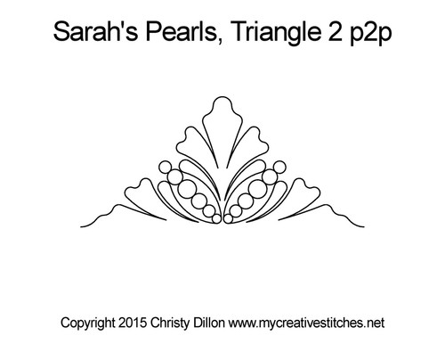 Sarah's pearls 2 p2p quilting design for triangle