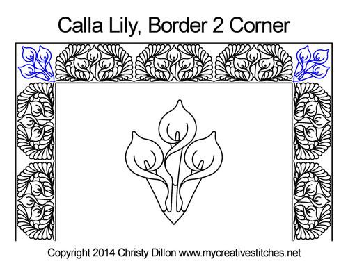 Calla Square block border & Corner pattern