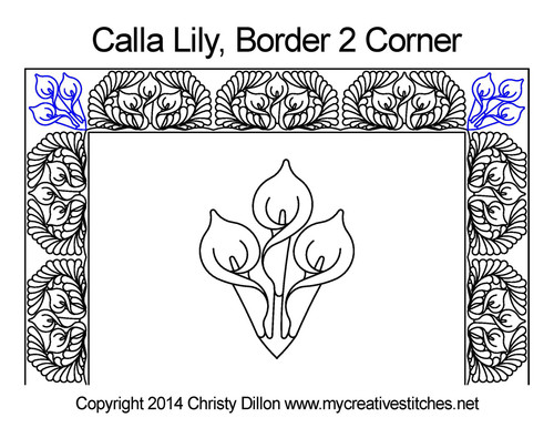 Calla Square block border & Corner pattern