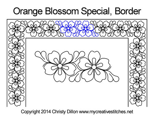 Orange blossom special border quilting design