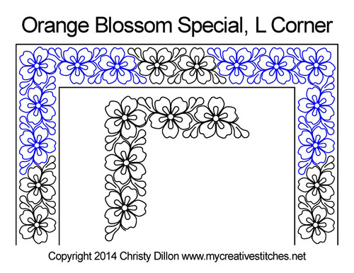 Orange blossom special L Corner quilt pattern