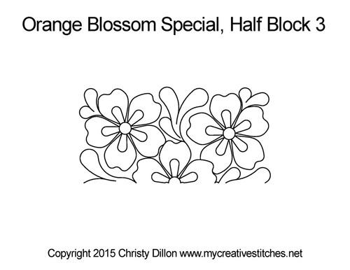 Orange blossom half block 3 quilt design