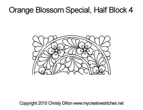 Orange blossom half block 4 quilting design