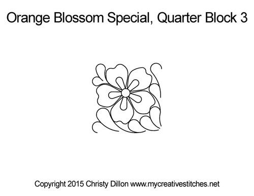Orange blossom special quarter block 3 quilting