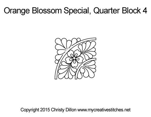 Orange blossom special quarter block 4 quilting