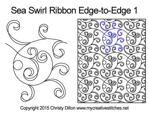Sea swirl ribbon edge to edge 1 quilting design