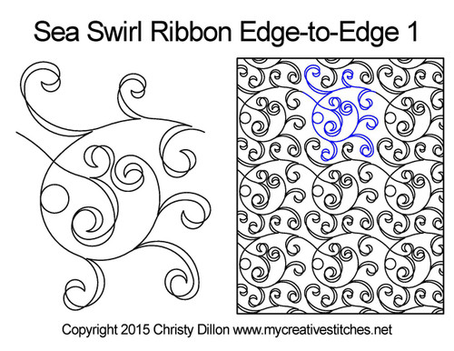 Sea swirl ribbon edge to edge 1 quilting design