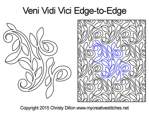Veni vidi vici edge to edge quilt design
