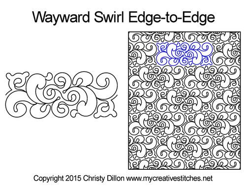 Wayward swirl edge to edge quilt patterns