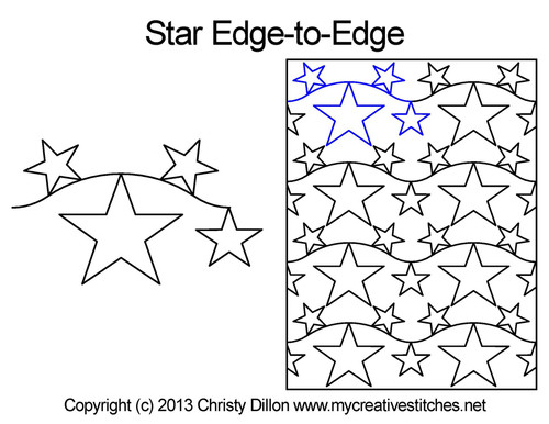 Star edge to edge digital quilting patterns