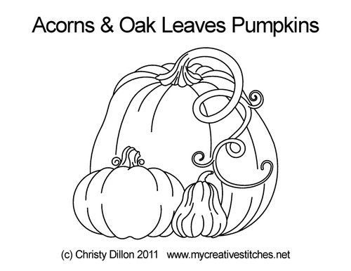 Acorns & Oak leaves pumpkins quilt pattern