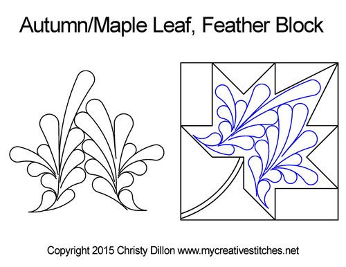 Autumn/maple leaf feather block quilt design
