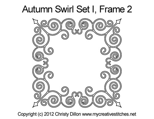 Autumn swirl computerized frame 2 quilt design