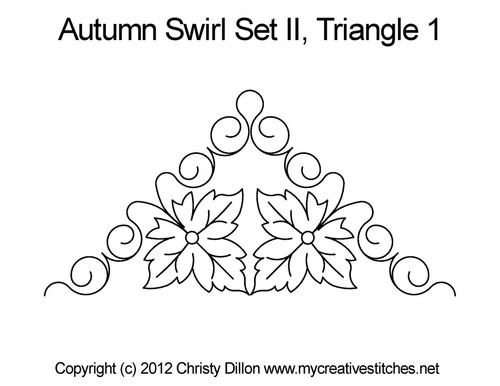 Autumn swirl quilting design for triangle 1