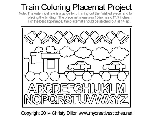 Train coloring free placemat quilting project