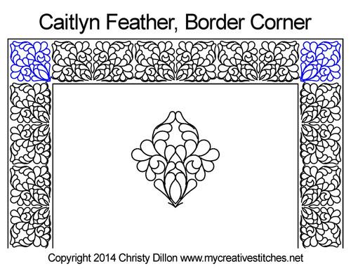 Caitlyn feather border & corner quilt pattern