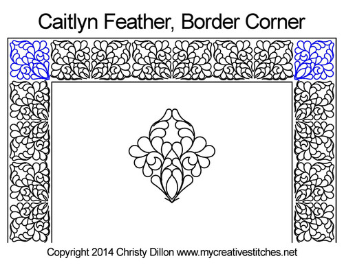 Caitlyn feather border & corner quilt pattern