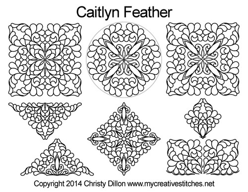 Caitlyn feather digital quilting design set