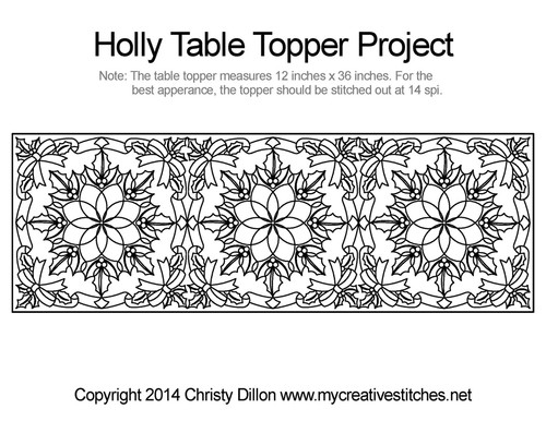 Holly table topper free quilting projects