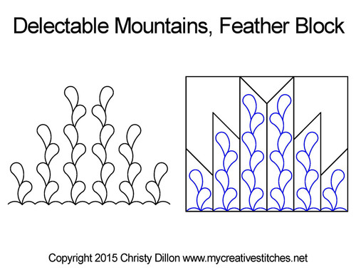 Delectable mountains feather block quilting
