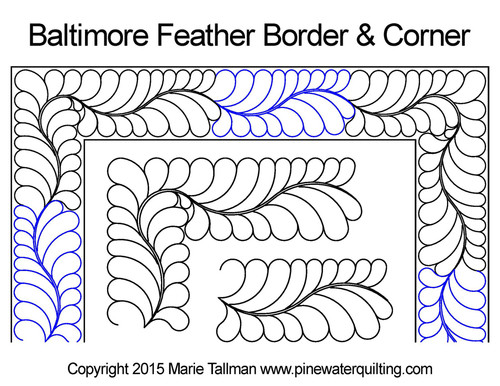 Baltimore feather border & corner quilt design