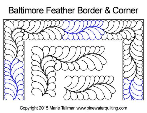 Baltimore feather border & corner quilt design