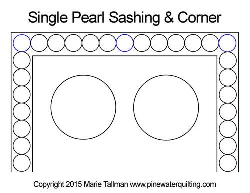 Single pearl sashing & corner quilt design