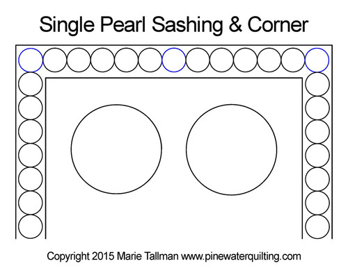 Single pearl sashing & corner quilt design