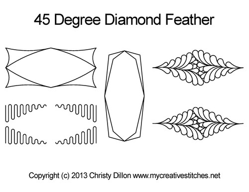 45 degree diamond feather quilt design