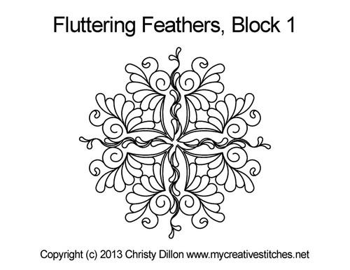 Fluttering feather block 1 quilt design
