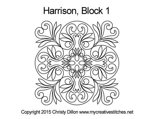 Harrison digitized block 1 quilting pattern