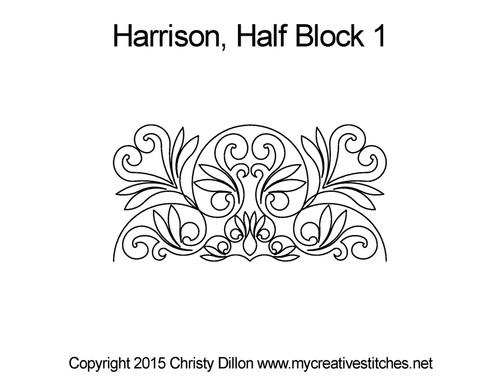 Harrison half block 1 quilting pattern